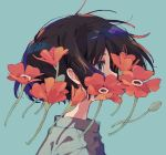 aqua_background aqua_eyes bangs brown_hair character_request close-up copyright_request eyebrows_visible_through_hair flower flower_request from_side green_eyes green_shirt grey_eyes grey_shirt half-closed_eyes high_collar highres ka_(marukogedago) portrait profile shadow shirt short_hair simple_background