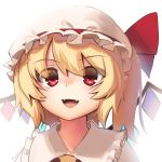 1girl :d absurdres blonde_hair boa_(brianoa) commentary english_commentary eyes_visible_through_hair fangs flandre_scarlet hat highres looking_at_viewer open_mouth pillow_hat red_eyes short_hair simple_background smile solo touhou twitter_username upper_body white_headwear wide-eyed wings