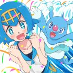 +_+ 1girl betuni blue_eyes blue_hair blue_sailor_collar blush brionne clenched_hands collarbone commentary_request freckles gen_7_pokemon gold_hairband hairband hands_up happy one-piece_swimsuit open_mouth pokemon pokemon_(anime) pokemon_(creature) pokemon_sm_(anime) sailor_collar shirt short_hair sleeveless smile suiren_(pokemon) swimsuit swimsuit_under_clothes tongue
