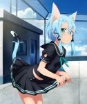 1girl absurdres animal_ears aqua_eyes artist_name bangs black_bow black_sailor_collar black_serafuku black_shirt black_skirt blue_hair blue_ribbon blue_sky bow cat_ears cat_tail collared_shirt cowboy_shot day hair_between_eyes highres huge_filesize leaning_forward lifted_by_self looking_at_viewer miniskirt neck_ribbon outdoors pleated_skirt ribbon rooftop sailor_collar sailor_shirt school_uniform serafuku shiny shiny_hair shirt short_hair_with_long_locks short_sleeves shugo19 sidelocks sinon_(sao-alo) skirt skirt_lift sky solo standing sword_art_online tail tail_bow watermark web_address