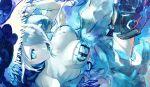 1girl bangs blue_background blue_eyes breasts closed_mouth dress fukazaki hair_over_one_eye hat highres kantai_collection large_breasts long_hair pale_skin seaport_summer_hime shinkaisei-kan sleeveless sleeveless_dress solo sun_hat white_hair white_skin