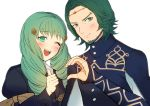 1boy 1girl beard brother_and_sister closed_mouth facial_hair fire_emblem fire_emblem:_three_houses flayn_(fire_emblem) garreg_mach_monastery_uniform green_eyes green_hair hair_ornament highres kusodekablack long_hair long_sleeves one_eye_closed open_mouth seteth_(fire_emblem) short_hair siblings simple_background smile uniform upper_body white_background