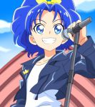1girl absurdres anime_coloring blue_eyes blue_hair blue_jacket blue_sky blurry blurry_background bow clouds collarbone day dearigazu2001 grin hair_bow hair_intakes highres holding holding_microphone jacket kirakira_precure_a_la_mode long_hair long_sleeves microphone microphone_stand open_clothes open_jacket outdoors precure shiny shiny_hair shirt sky smile solo standing tategami_aoi upper_body white_shirt yellow_bow