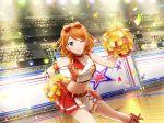 blue_eyes blush cheerleader dress ebisu_tsukasa orange_hair short_hair shoujo_kageki_revue_starlight smile