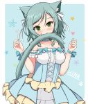 1girl animal_ears bang_dream! bangs bare_shoulders biting blue_background blue_bow blue_choker blue_dress blush bow breasts cat_ears cat_girl cat_tail center_frills character_name choker collarbone commentary dress eyebrows_visible_through_hair fingernails green_eyes green_hair hair_bow hands_up heart hikawa_hina kemonomimi_mode long_hair looking_at_viewer medium_breasts pleated_dress solo sonosakiburi star_(symbol) strapless strapless_dress swept_bangs tail tail_biting two-tone_background white_background white_bow