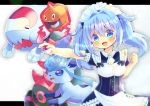 1girl :d alolan_form alolan_vulpix apron bangs blue_dress blue_eyes blue_hair blush breasts character_request commentary_request commission copyright_request dress eyebrows_visible_through_hair frilled_apron frills gen_4_pokemon gen_7_pokemon hair_between_eyes hair_intakes holding holding_poke_ball kouu_hiyoyo letterboxed long_hair maid_headdress open_mouth outstretched_arm poke_ball poke_ball_(basic) pokemon pokemon_(anime) pokemon_sm_(anime) puffy_short_sleeves puffy_sleeves ribbon-trimmed_sleeves ribbon_trim rotom short_sleeves small_breasts smile twintails waist_apron white_apron