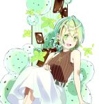 1girl bare_arms bare_shoulders chocolate earrings feet_out_of_frame food green_eyes green_hair hand_on_own_knee high-waist_skirt highres jewelry mint multicolored_hair necklace okutani_toro open_mouth original ribbed_sweater sitting skirt sleeveless sleeveless_sweater smile solo sweater symbol_commentary tied_hair two-tone_hair white_skirt