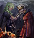 1boy 2girls absurdres after_battle axe aymr_(weapon) benchmarkz byleth_(fire_emblem) byleth_(fire_emblem)_(female) cape clouds death dimitri_alexandre_blaiddyd edelgard_von_hresvelg fire_emblem fire_emblem:_three_houses gloves green_hair hands_on_another's_face highres horned_headwear looking_at_another medium_hair multiple_girls rain silver_hair standing tiara