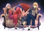 1boy 1girl alternate_costume ascot black_bow black_choker blonde_hair blue_eyes blue_flower blue_ribbon bouquet bow buttons caenis_(fate) cane choker closed_mouth collarbone couch dark_skin dress eyebrows_visible_through_hair fate/grand_order fate_(series) flower formal gloves hair_between_eyes hair_ribbon holding holding_cane jacket kirschtaria_wodime long_hair looking_at_another looking_to_the_side petals ponytail red_bow red_dress red_flower ribbon side_ponytail sitting smile suit tsengyun white_gloves white_hair