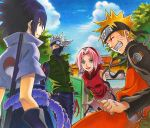 1girl 3boys arms_behind_back bangs black_hair blonde_hair blush clouds colored_pencil_(medium) gate green_eyes grin hachimaki happy haruno_sakura hatake_kakashi headband leaning_forward marker_(medium) medium_hair multiple_boys naruto_(series) naruto_shippuuden nekomaru parted_bangs pink_hair rope_belt signature silver_hair sky sleeveless smile spiky_hair team7 traditional_media tree uchiha_sasuke uzumaki_naruto vest