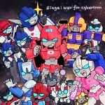 2girls :3 angry arcee blue_eyes bumblebee chibi chromia determined elita_one energon gun holding holding_weapon impactor ironhide jazz_(transformers) mirage_(transformers) multiple_boys multiple_girls ratchet red_alert red_eyes smile smirk space star_(sky) transformers weapon wheeljack zeropercenter