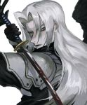1boy armor black_gloves black_lipstick black_wings blood crack face final_fantasy final_fantasy_vii gloves green_eyes highres holding holding_sword holding_weapon katana lipstick long_hair makeup pauldrons sephiroth shoulder_armor simple_background single_wing solo suzumesakiii sword upper_body weapon white_background white_hair wings