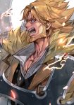 1boy beard blonde_hair blue_eyes brown_coat brown_jacket coat collared_shirt dual_wielding facial_hair fur_trim guilty_gear guilty_gear_strive hankuri holding holding_weapon huge_weapon jacket leo_whitefang looking_to_the_side male_focus open_mouth shirt short_hair simple_background solo spiky_hair sword weapon white_background