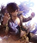 1boy abs belial_(granblue_fantasy) belt black_hair black_shirt chest granblue_fantasy granblue_fantasy_(style) highres hotaruika_niji looking_at_viewer male_focus open_clothes pants pectorals red_eyes shirt simple_background smile solo