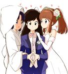 1girl 2boys bangs bare_shoulders blue_eyes blue_jacket blue_suit bow bowtie boy_sandwich breasts bride brown_hair commentary_request crossdressing dress elbow_gloves flower formal gloves groom hair_bow hair_flower hair_ornament hand_on_another's_arm hand_on_another's_shoulder heart hetero hood jacket japanese_clothes kajino_(aosansai) kimono konatsu_(ranma_1/2) kuonji_ukyou kurenai_tsubasa long_hair looking_at_another looking_at_viewer multiple_boys open_clothes open_jacket otoko_no_ko own_hands_together pink_bow purple_hair ranma_1/2 sandwiched shirt simple_background standing suit sweatdrop tiara uchikake wedding wedding_dress white_background white_bow white_dress white_gloves white_hood white_kimono white_shirt