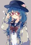 1girl alternate_costume bespectacled black_headwear blue_hair blush bow braid commentary_request food fruit glasses grey_background hat highres hinanawi_tenshi long_hair long_sleeves nikorashi-ka peach red-framed_eyewear red_bow red_eyes red_neckwear sailor_collar school_uniform serafuku smile solo sparkle striped touhou twin_braids upper_body