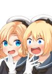 2girls bangs black_neckwear blonde_hair blue_eyes blue_sailor_collar comiching commentary_request gloves hat highres janus_(kantai_collection) jervis_(kantai_collection) kantai_collection kimoi_girls long_hair multiple_girls open_mouth parody parted_bangs sailor_collar sailor_hat short_hair simple_background upper_body upper_teeth white_background white_gloves white_headwear