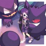 1boy ahoge bangs black_hair border collared_shirt commentary_request gastly gen_1_pokemon gengar gloves gym_leader haunter highres looking_back mask nagatsukiariake onion_(pokemon) outside_border pokemon pokemon_(creature) pokemon_(game) pokemon_swsh print_shirt print_shorts shirt shoes shorts single_glove standing suspender_shorts suspenders white_footwear