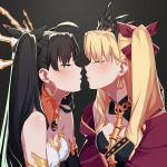 2girls absurdres black_hair black_ribbon blonde_hair blush cape closed_eyes earrings ereshkigal_(fate/grand_order) fate/grand_order fate_(series) gold_trim highres hoop_earrings incest ishtar_(fate)_(all) ishtar_(fate/grand_order) jewelry kiss matoi92 multiple_girls red_cape ribbon siblings sisters skull spine tiara twintails two_side_up yellow_cape yuri