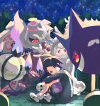 1boy absurdres black_eyes black_hair chandelure closed_mouth collared_shirt commentary copyright_name cursola dusknoir gen_1_pokemon gen_4_pokemon gen_5_pokemon gen_8_pokemon gengar gym_leader highres holding holding_mask huge_filesize long_sleeves looking_back mask mask_removed mole mole_under_mouth nagatsukiariake night onion_(pokemon) pokemon pokemon_(creature) pokemon_(game) pokemon_swsh print_shorts shirt shoes shorts sitting sky star_(sky) suspender_shorts suspenders white_footwear