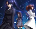 3girls aqua_eyes athrun_zala black_coat black_gloves black_hair black_legwear black_ribbon blue_hair brown_eyes brown_hair brown_skirt coat genderswap genderswap_(mtf) gloves grey_coat gundam gundam_seed gundam_seed_destiny hair_ribbon hand_in_pocket highres hooded_coat kira_yamato long_hair looking_at_viewer looking_back miniskirt morihaw multiple_girls night open_clothes open_coat outdoors plaid plaid_skirt pleated_skirt ponytail ribbon scarf shinn_asuka shiny shiny_hair skirt sky star_(sky) starry_sky straight_hair thigh-highs very_long_hair white_coat winter_clothes winter_coat zettai_ryouiki