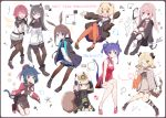 1boy 6+girls :d ^_^ aa_(sin2324) amiya_(arknights) animal_ear_fluff animal_ears animal_ears_helmet anniversary ansel_(arknights) arknights bangs bare_arms bare_shoulders bear_ears black_footwear black_gloves black_hair black_jacket black_shorts blonde_hair blue_dress blue_hair blue_skirt blush boots brown_eyes brown_hair brown_legwear brown_vest brown_wings ch'en_(arknights) china_dress chinese_clothes clipboard closed_eyes closed_mouth collared_shirt commentary_request curled_horns detached_wings double_bun dress eighth_note exusiai_(arknights) eyebrows_visible_through_hair fake_animal_ears fingerless_gloves fire_helmet fire_jacket firefighter flower food frying_pan gloves green_eyes gummy_(arknights) gun hair_flower hair_ornament halo hand_up hands_up highres holding holding_food holding_gun holding_weapon horns ifrit_(arknights) jacket jessica_(arknights) knee_boots knee_pads long_hair long_sleeves multiple_girls musical_note neckerchief necktie one_eye_closed open_clothes open_jacket open_mouth oxygen_tank pantyhose pink_hair pleated_dress pleated_skirt pocky ponytail purple_hair rabbit_ears red_dress red_eyes red_flower red_neckwear redhead sailor_collar sailor_dress shaw_(arknights) shirt short_shorts short_sleeves shorts shorts_under_dress sitting skirt sleeveless sleeveless_dress smile sparkle squirrel_girl squirrel_tail tail texas_(arknights) twintails very_long_hair vest wariza weapon white_jacket white_neckwear white_sailor_collar white_shirt wide_sleeves wings wolf_ears wolf_girl wolf_tail