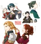3boys 3girls alternate_hairstyle black_hair blue_eyes blue_hair brown_hair byleth_(fire_emblem) byleth_(fire_emblem)_(female) closed_eyes closed_mouth dorothea_arnault earrings edelgard_von_hresvelg ferdinand_von_aegir fire_emblem fire_emblem:_three_houses from_side green_hair hair_brush hair_ornament hairclip holding hubert_von_vestra jewelry linhardt_von_hevring long_hair long_sleeves multiple_boys multiple_girls open_mouth orange_eyes orange_hair ponytail robaco short_hair side_ponytail simple_background smile white_background white_hair