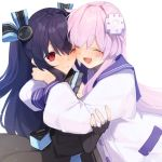2girls absurdres black_dress black_gloves black_hair buran_buta closed_eyes d-pad d-pad_hair_ornament dress elbow_gloves fingerless_gloves gloves hair_ornament hair_ribbon happy highres hug long_hair looking_at_another multiple_girls nepgear neptune_(series) one_eye_closed open_mouth purple_hair red_eyes ribbon sailor_dress sleeveless smile two_side_up uni_(neptune_series)