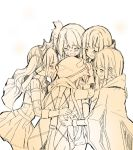 5girls ^_^ bangs belt blunt_bangs blush christy cloak closed_eyes cow_horns crying dot_nose eyebrows_visible_through_hair flower frown furrowed_eyebrows futaba_sana gloves gradient gradient_background group_hug hair_flower hair_ornament hand_on_another's_back happy_tears height_difference high_collar hood hood_down horns hug jewelry magia_record:_mahou_shoujo_madoka_magica_gaiden mahou_shoujo_madoka_magica mitsuki_felicia multiple_girls nanami_yachiyo no_nose open_mouth pleated_skirt profile ribbed_sweater sad side_ponytail sidelocks simple_background skirt sobbing spot_color standing streaming_tears sweater tamaki_iroha tears teeth tiara tongue twintails upper_body upper_teeth v-shaped_eyebrows veil vignetting wavy_mouth white_background yellow_theme yui_tsuruno