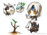 1girl ? celebration drone elsword eve_(elsword) facial_mark forehead_jewel grey_hair mechanical_ears moby_(elsword) official_art plant pointing poker_face remy_(elsword) sitting sitting_on_object watering_can yellow_eyes