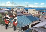 2girls abu_(shoushin_nanjaku_line) blue_sky bridge brown_hair clouds green_hair hakama_skirt kantai_collection multiple_girls muneate railing red_skirt rooftop skirt sky smile taihou_(kantai_collection) thigh-highs twintails water zuikaku_(kantai_collection)