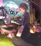 1girl :d bangs berry_(pokemon) blush brown_eyes brown_hair cardigan chandelure commentary_request cooking curry dress fire food gen_1_pokemon gen_5_pokemon gengar grass green_headwear grey_cardigan highres holding holding_ladle jellicent jellicent_(male) ladle leaf litwick looking_at_viewer nagatsukiariake open_mouth pink_dress pokemon pokemon_(creature) pokemon_(game) pokemon_swsh short_hair smile tam_o'_shanter tree water yuuri_(pokemon)