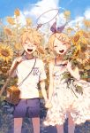 1boy 1girl ahoge bandaid blonde_hair butterfly_net closed_eyes clouds cloudy_sky dress fajyobore323 flower hair_ornament hairclip hand_net holding_hands kagamine_len kagamine_rin plant shirt short_hair shorts siblings sky smile standing sunflower twins vocaloid white_dress