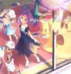1boy 2girls :3 :d absurdres acerola_(pokemon) armlet banette brown_eyes brown_hair collarbone commentary_request copyright_name dhelmise dress drifblim froslass gen_3_pokemon gen_4_pokemon gen_7_pokemon hair_ornament hat highres huge_filesize indoors multiple_girls nagatsukiariake open_mouth palossand pokemon pokemon_(creature) pokemon_(game) pokemon_sm preschooler_(pokemon) purple_hair sandals school_hat shoes short_hair short_sleeves smile socks standing stitches toes topknot white_legwear
