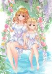2girls :3 alternate_hairstyle aoba_yukichi barefoot blonde_hair dress flower futaba_anzu hair_down highres holding_hands idolmaster idolmaster_cinderella_girls matching_outfit moroboshi_kirari multiple_girls orange_eyes orange_hair sitting soaking_feet wavy_hair white_dress yellow_eyes
