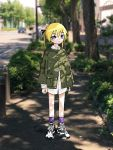 1girl absurdres blonde_hair blush_stickers car closed_mouth eyebrows_visible_through_hair green_jacket ground_vehicle highres jacket kill_me_baby long_hair long_sleeves looking_at_viewer motor_vehicle nadegata outdoors photo_background purple_legwear shoes socks solo sonya_(kill_me_baby) standing tree twintails