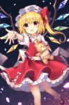 1girl ankle_socks arms_up black_background blonde_hair checkered checkered_background commentary_request contrapposto cravat eyebrows_visible_through_hair fang flandre_scarlet gradient gradient_background hair_between_eyes hat hat_ribbon highres holding holding_stuffed_animal leg_lift light_particles looking_at_viewer mary_janes mob_cap one_side_up open_mouth outstretched_hand petals petticoat puffy_short_sleeves puffy_sleeves purple_background reaching_out red_eyes red_footwear red_skirt red_vest ribbon ruhika shirt shoes short_hair short_sleeves skirt solo standing standing_on_one_leg stuffed_animal stuffed_toy teddy_bear touhou vest white_headwear white_legwear white_shirt wings yellow_neckwear
