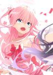 1girl bow chiyoda_momo choker daifuku_(tkja3555) hair_ornament highres long_hair machikado_mazoku magical_girl open_mouth pink_hair ribbon shiny shiny_hair twintails