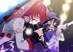 2boys :d arm_up black_hair black_shirt blue_eyes blue_headwear blue_jacket blurry blurry_background closed_eyes collar commentary_request hair_between_eyes hair_ornament hair_ribbon hanasaki_miyabi hat headphones headphones_around_neck highres holding holding_microphone holostars jacket kanade_izuru light looking_to_the_side male_focus microphone mudo_(saji) multicolored multicolored_clothes multicolored_jacket multiple_boys music open_mouth red_jacket redhead ribbon shirt singing smile tied_hair virtual_youtuber white_jacket
