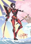 1girl absurdres autobot blue_eyes breasts chinese_commentary highres holding holding_sword holding_weapon huai_diao_de_zongzi katana looking_down mechanical_wings navel open_hand small_breasts solo sword transformers waves weapon windblade wings