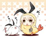 >_< 1girl 1other alternate_costume anchor_hair_ornament black_hairband blonde_hair blush blush_stickers chibi commentary_request eyebrows_visible_through_hair food hair_ornament hairband kantai_collection long_hair open_mouth seal shimakaze_(kantai_collection) shrimp shrimp_tempura simple_background skirt striped striped_legwear tempura thigh-highs yume_no_owari