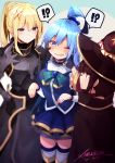 !? 3girls aqua_(konosuba) bangs blonde_hair blue_eyes blue_hair blush breasts brown_hair cheek_pull commentary darkness_(konosuba) eyebrows_visible_through_hair fingerless_gloves gloves hair_between_eyes hair_ornament hat highres kono_subarashii_sekai_ni_shukufuku_wo! long_hair megumin multiple_girls one_eye_closed open_mouth ponytail red_eyes shiny shiny_hair speech_bubble tied_hair witch_hat x_hair_ornament xarlasar