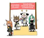 4girls animal_ears arknights artist_request clueless embarrassed english_text fox_ears fox_tail hard_translated horns hoshiguma_(arknights) ifrit_(arknights) liskarm_(arknights) medal multiple_girls oni oni_horns owl_ears silence_(arknights) single_horn tail third-party_edit