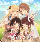 4girls :d :o ;d absurdres ball bangs black_ribbon blonde_hair blue_sky blush bow brown_eyes brown_hair brown_skirt clouds cloudy_sky collared_shirt commentary_request day eyebrows_visible_through_hair fang fingernails glasses golf_ball golf_club hair_between_eyes hair_ribbon hands_up highres holding holding_ball huge_filesize long_hair low_twintails multiple_girls one_eye_closed open_mouth original outdoors outstretched_arm petals pleated_skirt rainbow red_bow revision ribbon sakura_oriko semi-rimless_eyewear shirt short_hair short_sleeves skirt sky smile sweat sweater_vest swing!! twintails two_side_up under-rim_eyewear v v-shaped_eyebrows very_long_hair white_shirt