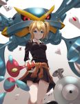 1girl absurdres alternate_color bangs blonde_hair blue_eyes breasts card clothes_around_waist collared_shirt commentary_request crossover eyebrows_visible_through_hair gen_1_pokemon gen_3_pokemon gen_4_pokemon hair_ornament hair_scrunchie hayasaka_ai highres holding holding_poke_ball kaguya-sama_wa_kokurasetai_~tensai-tachi_no_renai_zunousen~ long_hair long_sleeves magnemite mega_metagross mega_pokemon metagross playing_card poke_ball poke_ball_(basic) pokemon pokemon_(creature) porygon-z scrunchie shiny shiny_hair shiny_pokemon shirt side_ponytail sidelocks white_shirt yofo32858840