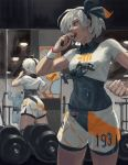1girl absurdres bangs black_bodysuit black_hairband bodysuit bodysuit_under_clothes breasts collared_shirt commentary dumbbell dynamax_band eating food gen_1_pokemon grey_eyes grey_hair gym gym_leader hairband hand_up highres holding holding_food machoke mirror nazgul_(5511474) pokemon pokemon_(creature) pokemon_(game) pokemon_swsh print_shirt print_shorts reflection saitou_(pokemon) shirt short_hair short_sleeves shorts standing tied_shirt