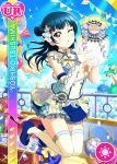 blue_hair blush character_name dress long_hair love_live!_school_idol_festival love_live!_sunshine!! pink_eyes tsushima_yoshiko wink
