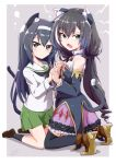 2girls animal_ear_fluff animal_ears ankle_boots artist_name bangs black_hair black_legwear black_neckwear black_sleeves blouse bob_(you-u-kai) boots brooch brown_eyes brown_footwear cat_ears cat_girl cat_tail detached_sleeves dress fang girls_und_panzer green_eyes green_skirt hairband hands_together high_collar high_heel_boots high_heels highres interlocked_fingers jewelry karyl_(princess_connect!) kemonomimi_mode kneeling light_frown lightning_bolt loafers long_hair long_sleeves looking_at_viewer low_twintails medium_dress miniskirt multicolored_hair multiple_girls neck_ribbon neckerchief ooarai_school_uniform open_mouth pleated_skirt princess_connect! princess_connect!_re:dive purple_dress reizei_mako ribbon sailor_collar school_uniform serafuku shadow shoes signature skin_fang skirt sleeveless sleeveless_dress socks streaked_hair tail thigh-highs twintails very_long_hair white_blouse white_hair white_hairband white_sailor_collar