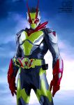 1boy absurdres antennae armor artist_name belt blue_background clouds copyright_name cowboy_shot highres kamen_rider kamen_rider_01_(series) kamen_rider_zero-two looking_at_viewer making-of_available mask parashima_tenko red_eyes rider_belt shiny sky solo
