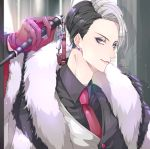 1boy absurdres baton blue_eyes collar divus_crewel earrings fur_scarf hand_up highres huge_filesize indoors jewelry long_sleeves looking_at_viewer necktie purple_earrings ritsuki_mei solo standing stud_earrings twisted_wonderland twitter_username upper_body vest